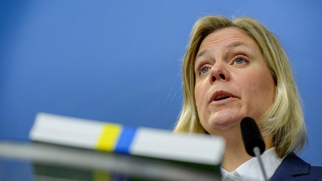 Finance Minister Magdalena Andersson presents Sweden's spring budget proposal. Photo: Janerik Henriksson / TT.