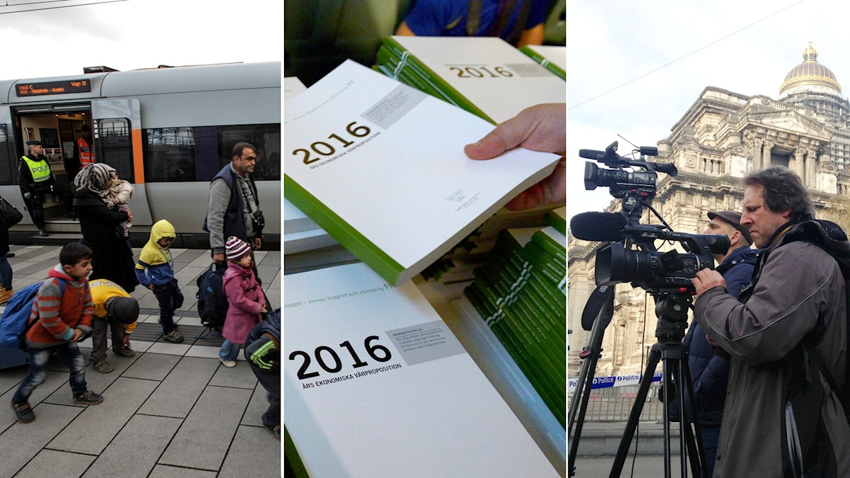 This week's top stories on border controls, budget proposals and Belgium terrorists. Photos: TT Collage: Radio Sweden.