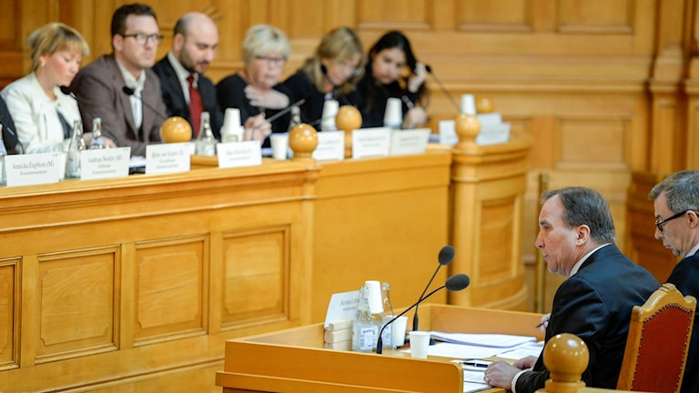 The Swedish PM faces the cross-party Constitutional Committee. Photo: Jessica Gow / TT