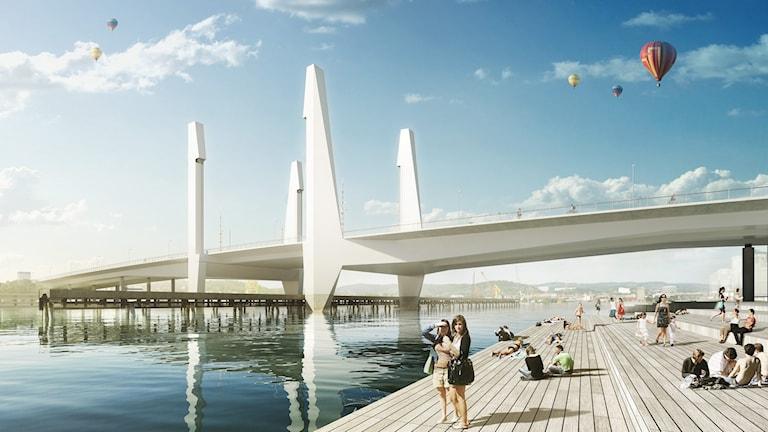 The envisioned new bridge over Göta Älv. Illustration: Mattias Henningsson-Jönsson.