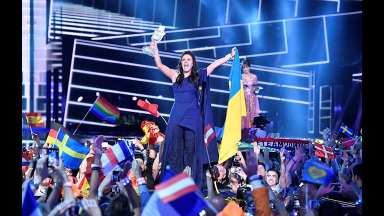 Jamala's politically charged song wins Eurovision Song Contest. Photo: Martin Meissner / AP.