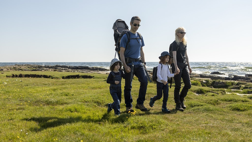 A family about to go hiking
