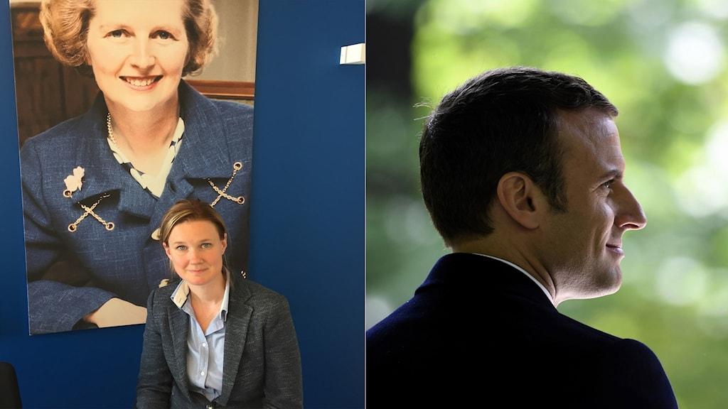 Karin Svanborg-Sjövall from Timbro and Emmanuel Macron.