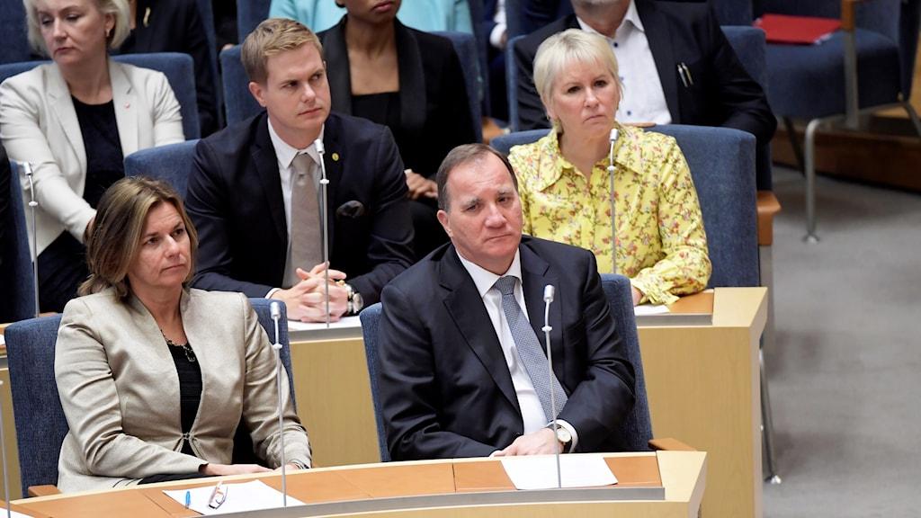 Stefan Löfven in parliament during the mandatory vote.