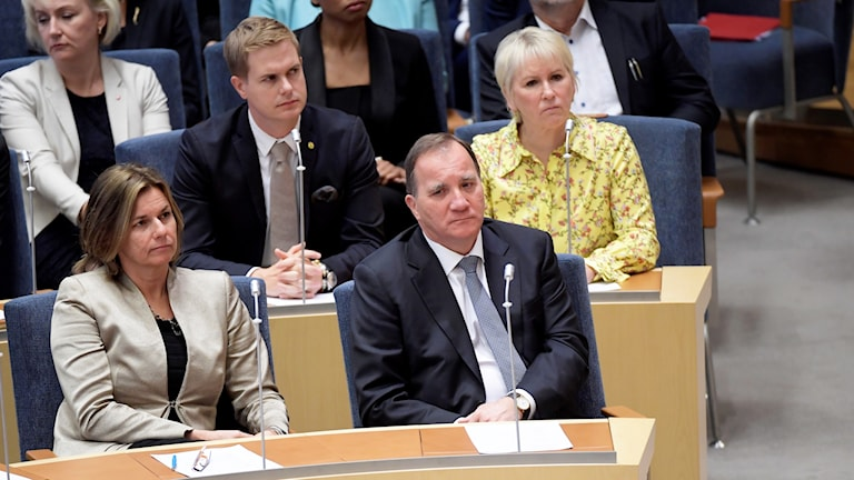 Stefan Löfven in parliament during the mandatory vote.