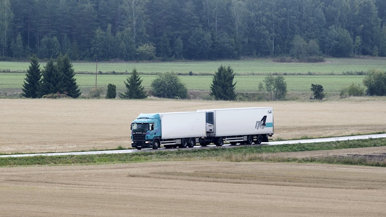A heavy lorry on a country road.