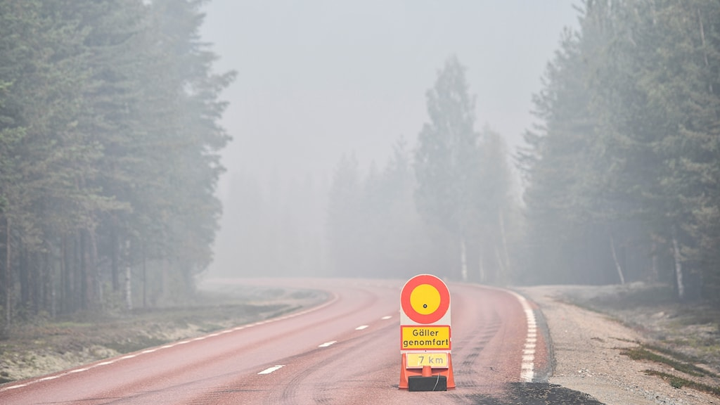 Road with stop sign and haze of smoke.