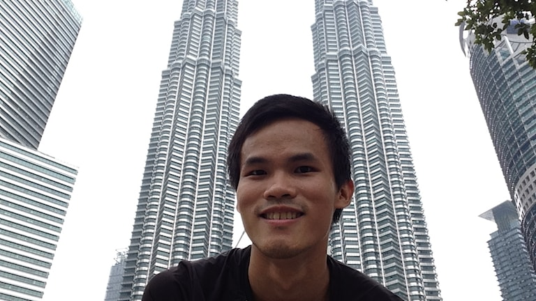 Randy in front of the Carigali Tower in Kuala Lumpur.