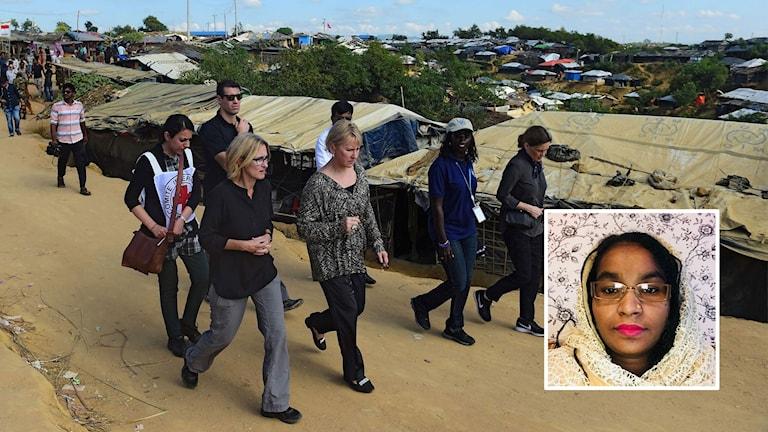 Salama Begum (inset), Margot Wallström visiting Bangladesh's Kutupalong refugee camp (background)