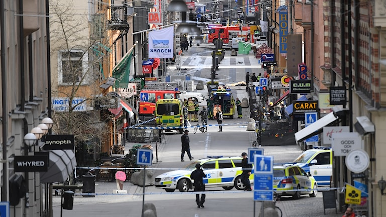 Scene from a down town street in Stockholm, cordoned off by police.