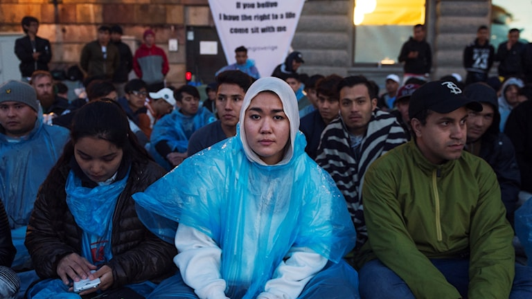The unaccompanied refugee migrants camped outside Mynttorget in Stockholm.
