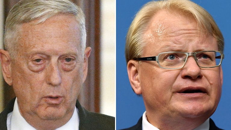 US secretary of state James Mattis (left) and Swedish defence minister Petter Hultqvist (right).