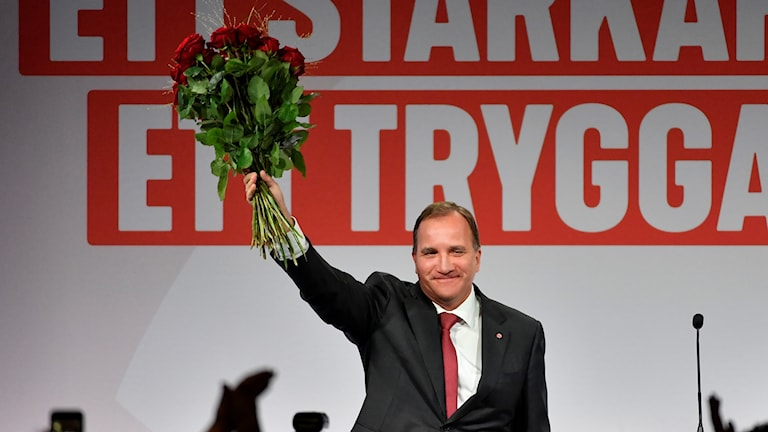 Stefan Löfven at the election night celebration