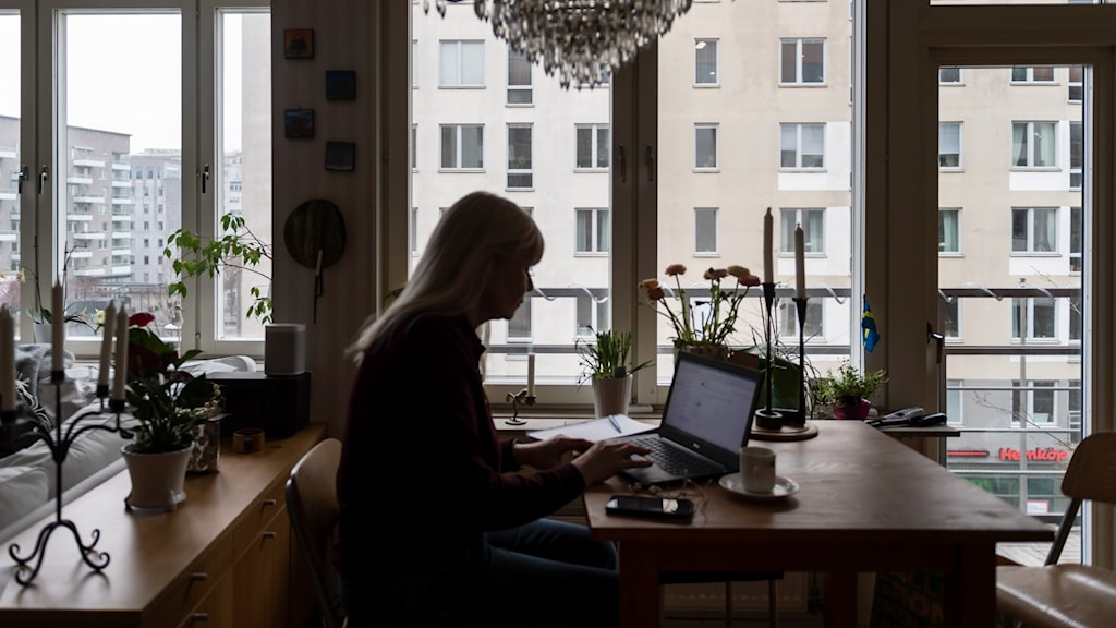 A shadowy woman at a laptop in room in an apartment.