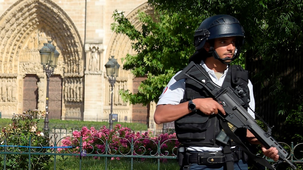Police officer with weapon outside Notre Dame