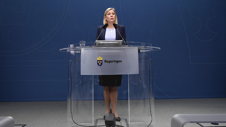 Sweden's minister for finance, Magdalena Andersson, stands behind a speaker's podium during a press conference in Stockholm.