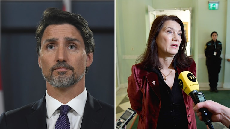 Pictures of Justin Trudeau and Ann Linde