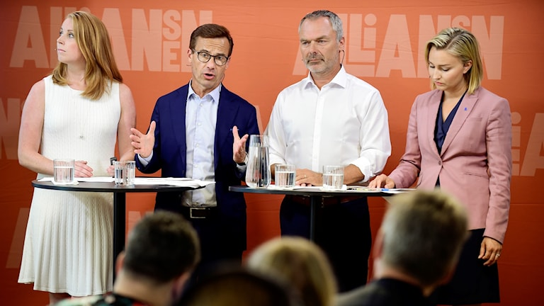 The four Alliance party leaders at Tuesday's press conference.