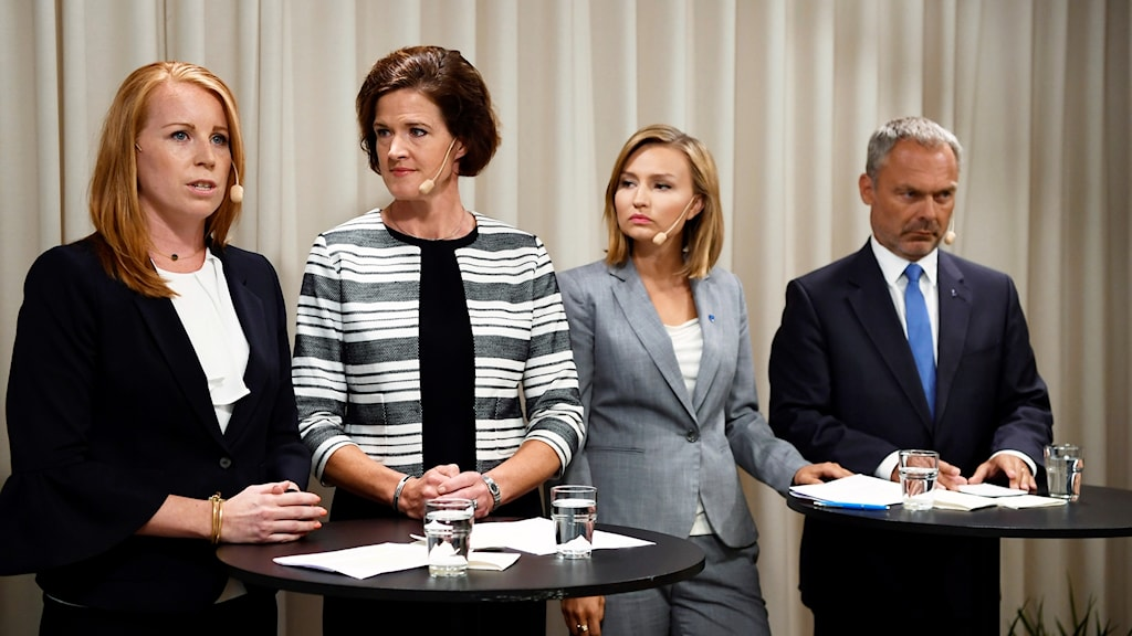 Annie Lööf (Centre) Anna Kinberg Batra (Moderates), Ebba Busch Thor (Christian Democrats) and Jan Björklund (Liberals) announce their no confidence motion on Wednesday.