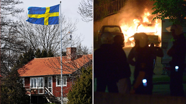 Which image of Sweden is true? The idyllic red cottage and cars burning during a riot in a Stockholm suburb.