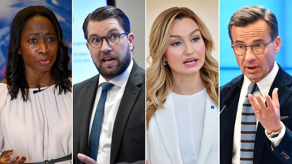 Four portraits of the party leaders of the Liberals, the Sweden Democrats, the Christian Democrats and the Moderates