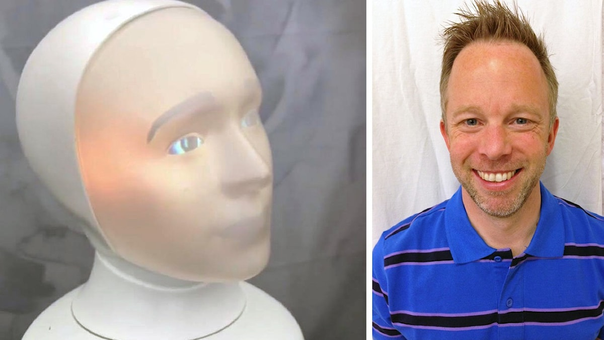 The Tengai recruitment robot and a portrait of a man in a blue polo shirt.