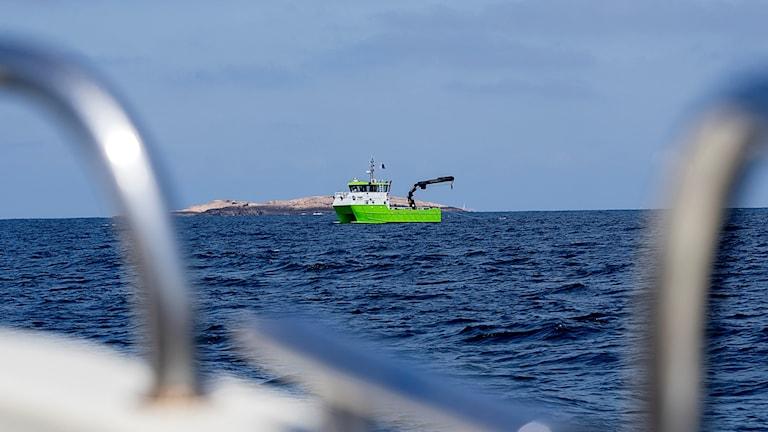 A boat in open water.