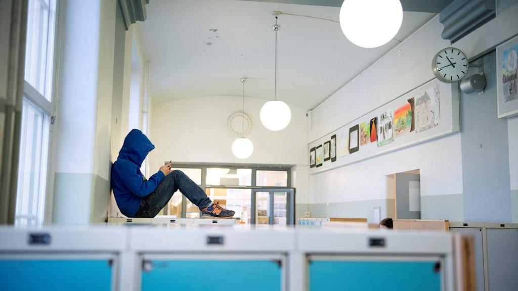 Student in hallway.