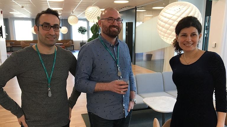 Yamen Kadoura, Samir Tarcheh and Ghenwa Naffouje, who have internships at the Swedish Standards Institute as part of Jobbsprånget, run by IVA.