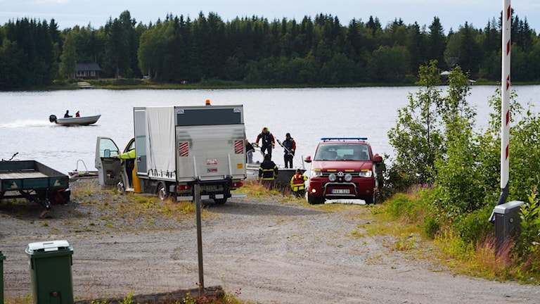 Emergency services at the scene of a plane crash in Umeå