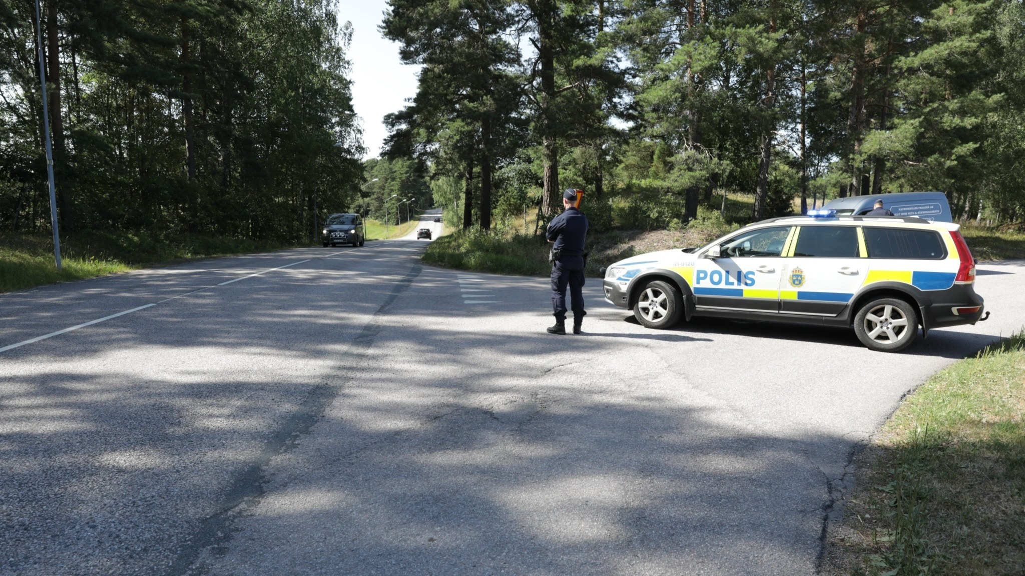 A parked police car on a forest road.