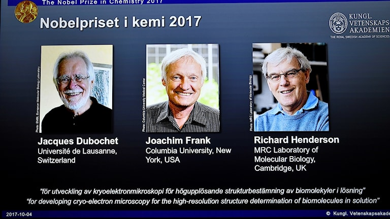 The three Nobel Chemistry laureates of 2017 were announced on Thursday morning in Stockholm.