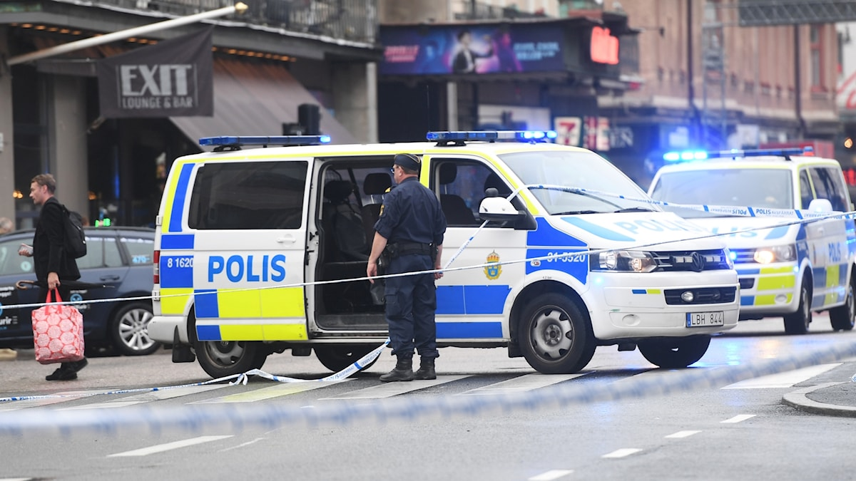 Police cordoned off the area in Medborgarplatsen where the attack took place.