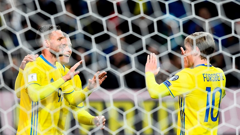 Sweden's forward Marcus Berg (left) celebrates with his teammates after scoring a goal during this weekend's match against Luxembourg, played in Solna, Sweden.