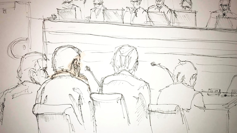 Sketch from a trial, defendant seen from the back.