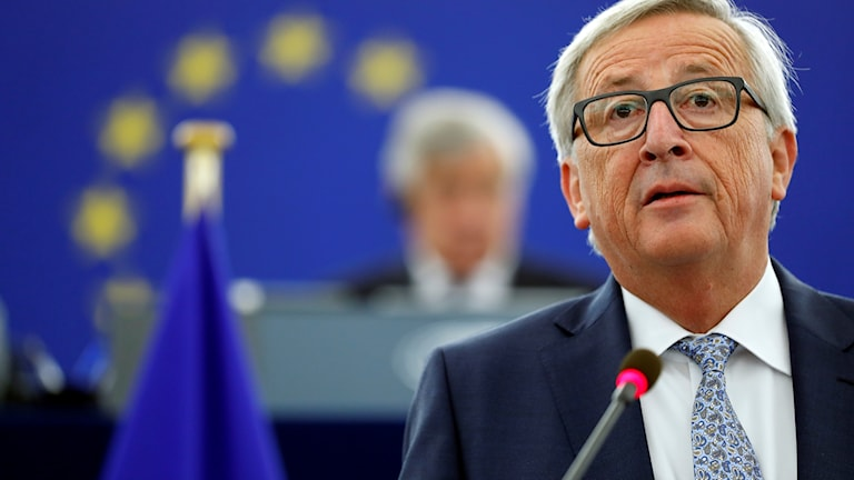 EU Commission president Jean-Claude Juncker delivering his speech on Wednesday.
