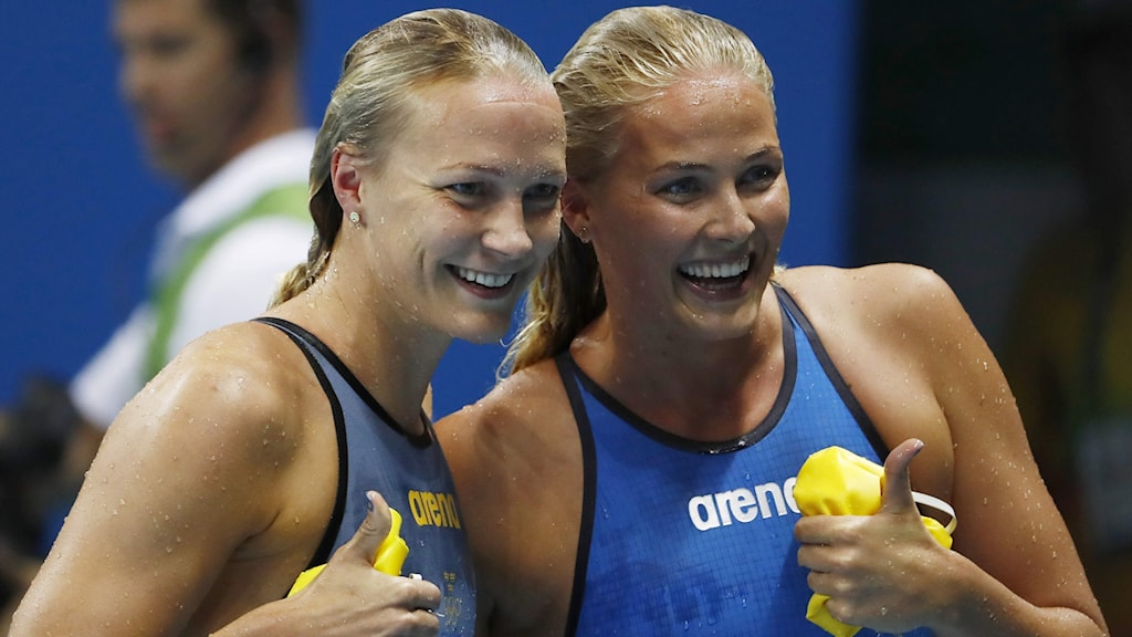 Sarah Sjöström and Michelle Coleman after qualifying for the Olympic 200 metre freestyle final.