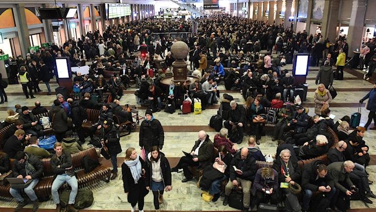 Travellers stuck at Stockholm's central station.