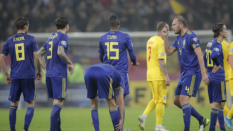 Alexander Isak (centre) was targetted by racist taunts during Sweden's 2-0 away win over Romania.