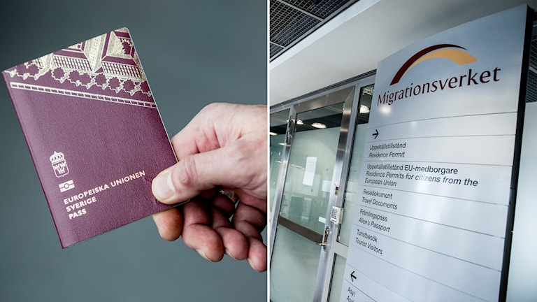 A split photo of a hand holding a passport and a sign at the migration agency.