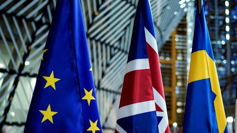 EU, British and Swedish flags
