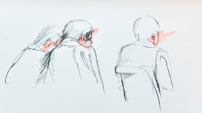 A sketch from Stockholm District Couty yesterday, where Akilov faced a pre-trial detention hearing