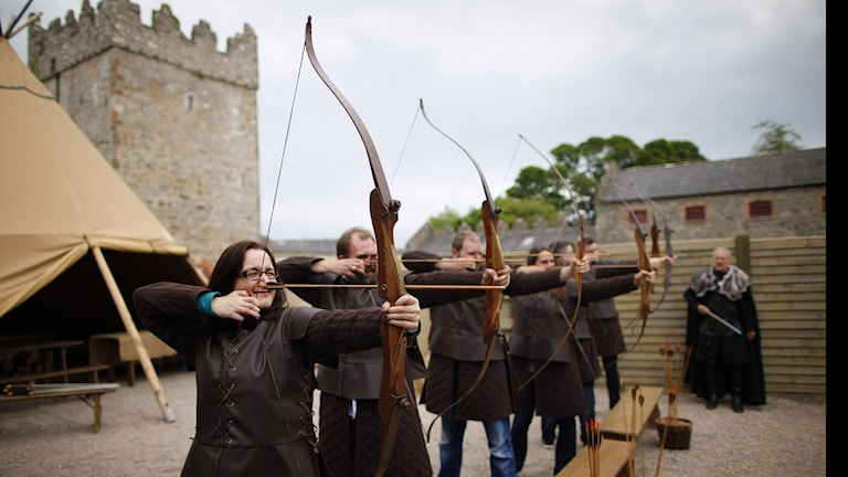 A cast of archers filming Game of thrones in Northern Ireland.Photo:Peter Morrison/AP