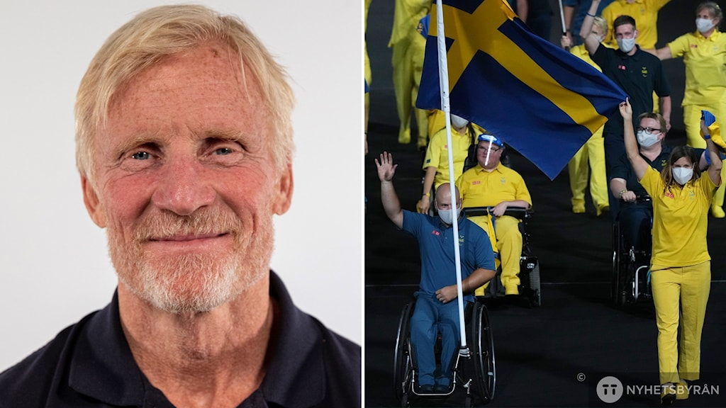 on the left, a portrait of a smiling man. on the right, a night-time image of people wearing yellow and blue outfits. a swedish flag is waving from one man's wheelchair.