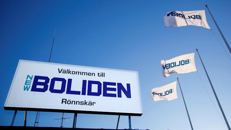 Signs outside Boliden's copper smelter plant in Skellefteå.