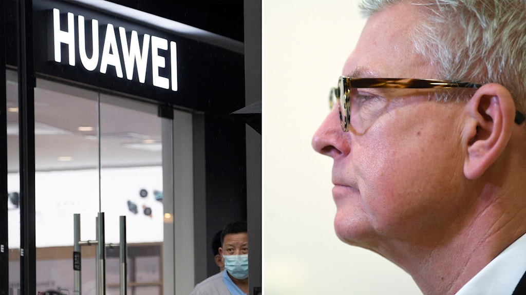 Split image with the logo of Huawei and a portrait of a man with glasses.