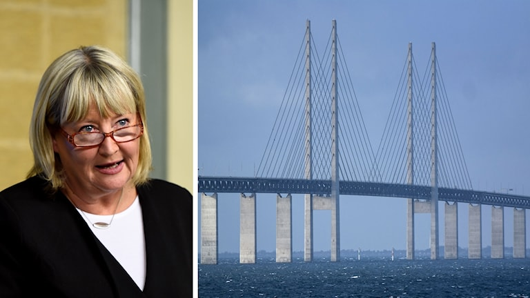 Supreme Court judge Mari Heidenborg (left), the Öresund Bridge between Denmark and Sweden (right)