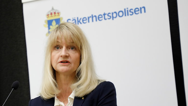 Acting Säpo Chief Charlotte von Essen presenting 2017's annual report.