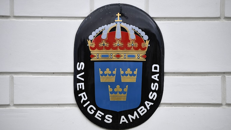 Symbol on wall of a Swedish embassy building.