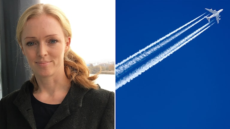 Split photo of a woman and a plane in the air.